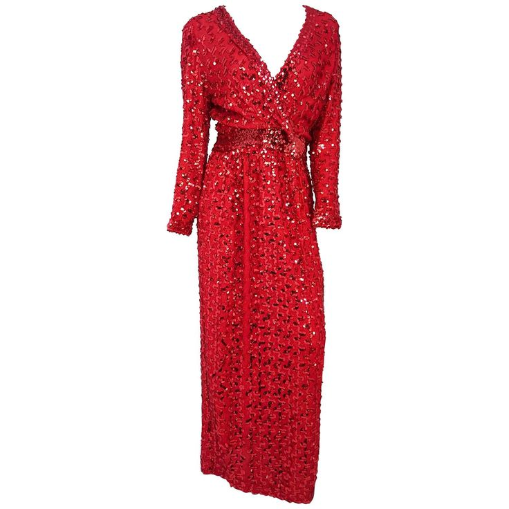 70s Lilli Diamond Red Sequin Dress | From a collection of rare vintage evening dresses and gowns at https://www.1stdibs.com/fashion/clothing/evening-dresses/