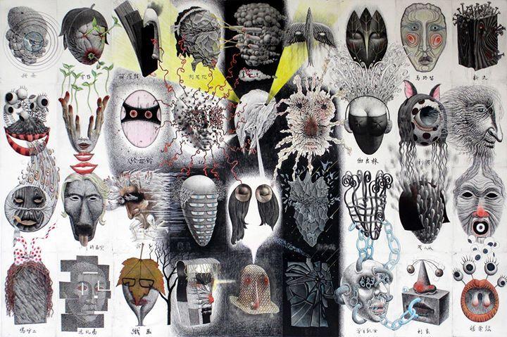"""L'Atelier Circulaire présente l'exposition """"100 visages et amis"""" de l'artiste japonais exposé internationalement Tomiyuki Sakuta..."""