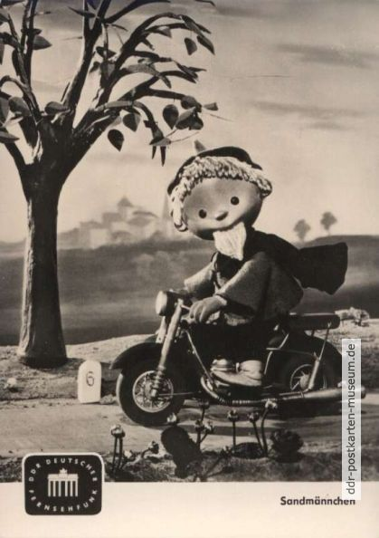 1961, Sandmännchen mit Motorrad