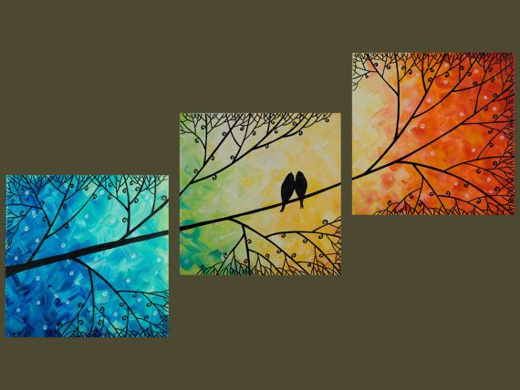 art painting, red,yellow, orange, green blue wall art, Birds on Tree branch wall…