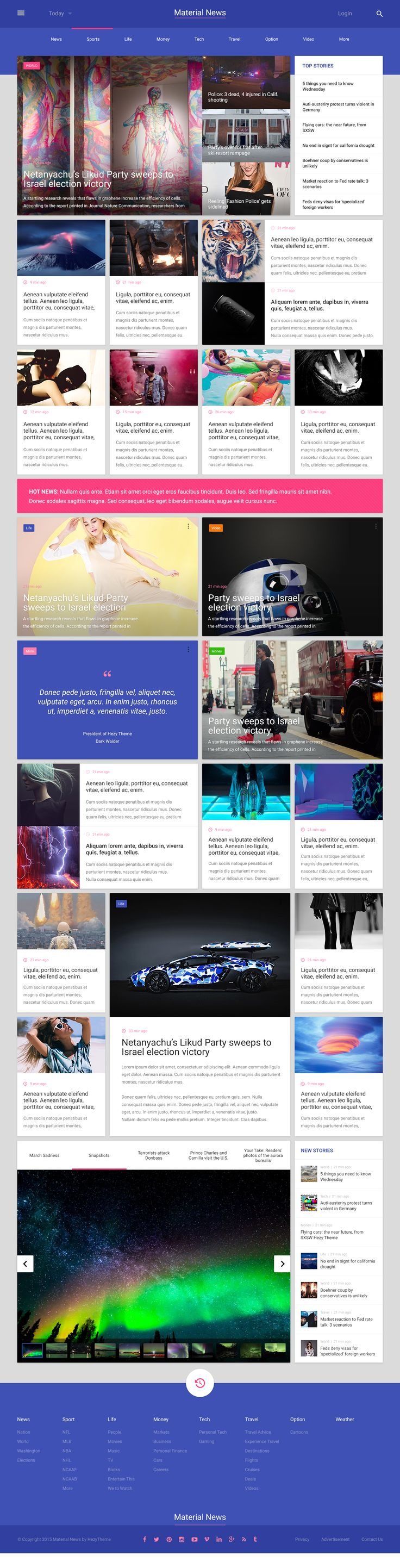 Material Design, magazine, articles, news feed, community, colors, space, fonts