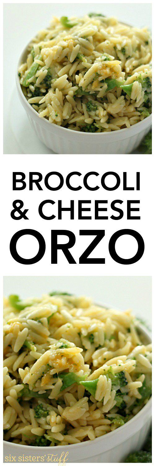 Broccoli and Cheese Orzo on SixSistersStuff.com   Side Dish Recipes   Vegetables   Easy Sides