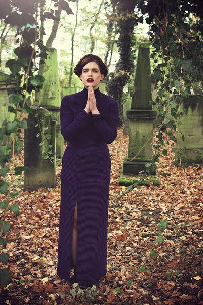 Maxi dress Ella dogstooth dark purple and black for fall/winter.