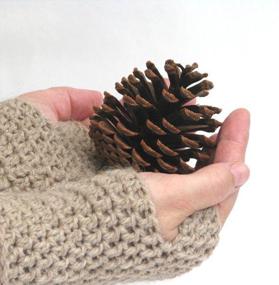 Fingerless Gloves Crochet Gloves Wrist by AGirlNamedMariaDK #wrist #arm #warmer #warmers #glove #gloves #fingerless #mitten #mittens #mitts #wool #alpaca #crochet #crocheted #chunky #warm #beige #brown #sand #wheat #barley