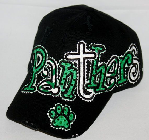Custom baseball hat. Embroidered applique Panthers by SpiritLoft