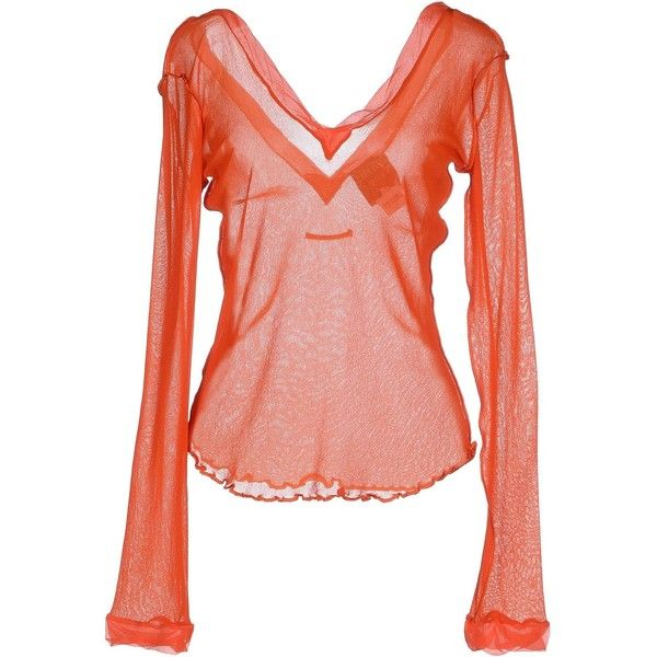Jean Paul Gaultier Maille Femme T-shirt (2.395 ARS) ❤ liked on Polyvore featuring tops, t-shirts, orange, long sleeve v neck tee, red t shirt, pocket t shirts, v neck tee and v neck t shirts