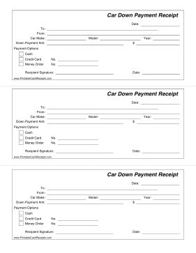 This printable receipt is for a down payment that is being made on a new car. Includes payment options and the car make, model and year. Free to download and print