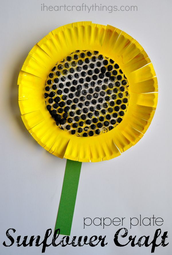 Paper Plate Sunflower Craft | I Heart Crafty Things #RePin by AT Social Media Marketing - Pinterest Marketing Specialists ATSocialMedia.co.uk