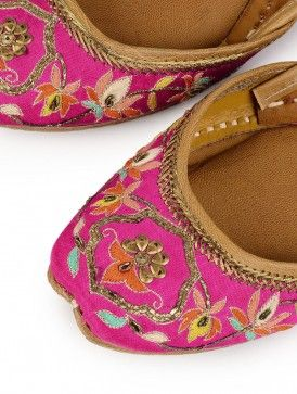Jootis with Ari-Embroidery in Multi-Color Thread - Pure Leather - Color Schwarz Footwear Size 42 Exotic India b4BpgD