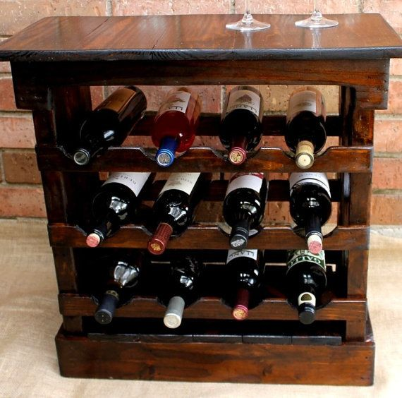 Rustic and beautiful handcrafted table wine rack is made from rustic reclaimed natural pallet wood. The grains and knots in the wood add character,