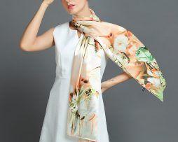 Luxusný hodvábny šál rozmerov 160 x 80 cm - Natural