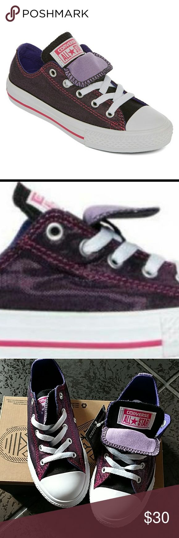 ✴️FINAL DROP -Converse Double Tongue Ox Sneakers New in box - double tongue Chuck Taylors.  Vivid pink/candy grape color (irradecent) Price pretty firm Converse Shoes Sneakers