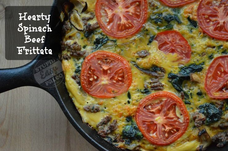Hearty Spinach Beef Frittata | Yummmo!! | Pinterest