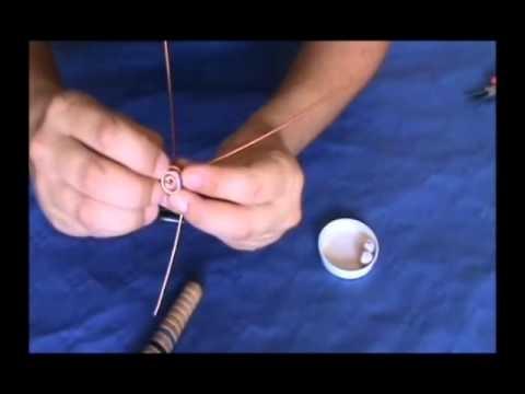anillo de alambre de aluminio con tres perlas //7