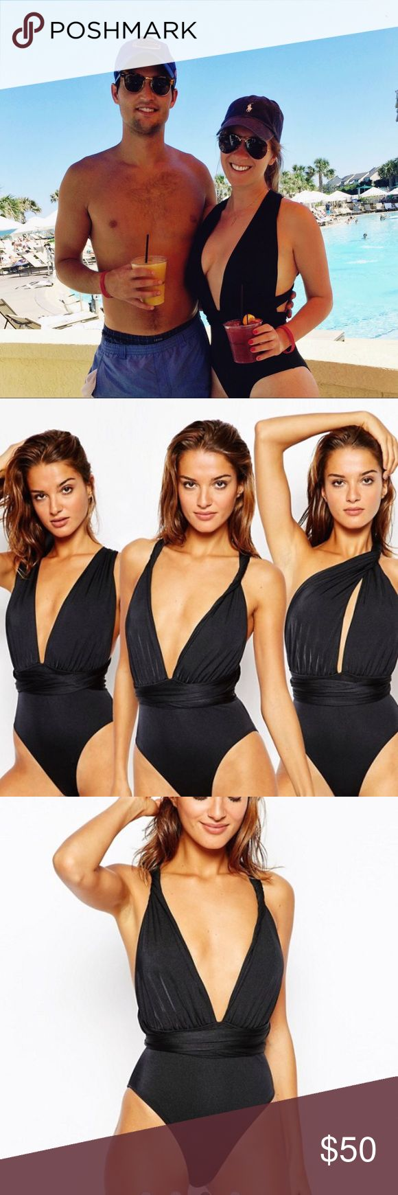 ASOS Multiway Swimsuit- Black ASOS Multiway One Piece Bathing Suit. Very Versatile. Can wear at least 3 different ways. Worn ONCE!!! In Perfect Condition!!! Size AU 4 but fits like an American Size 0 to 2. ASOS Swim One Pieces