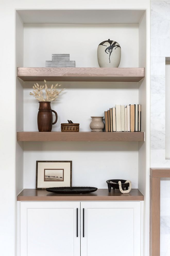 On The Opposite Side You Will Find A Lower Cabinet With Custom Stained White Oak Top And Floating She In 2020 Wall Shelves Living Room Staining Wood Home Office Decor #side #cabinets #for #living #room