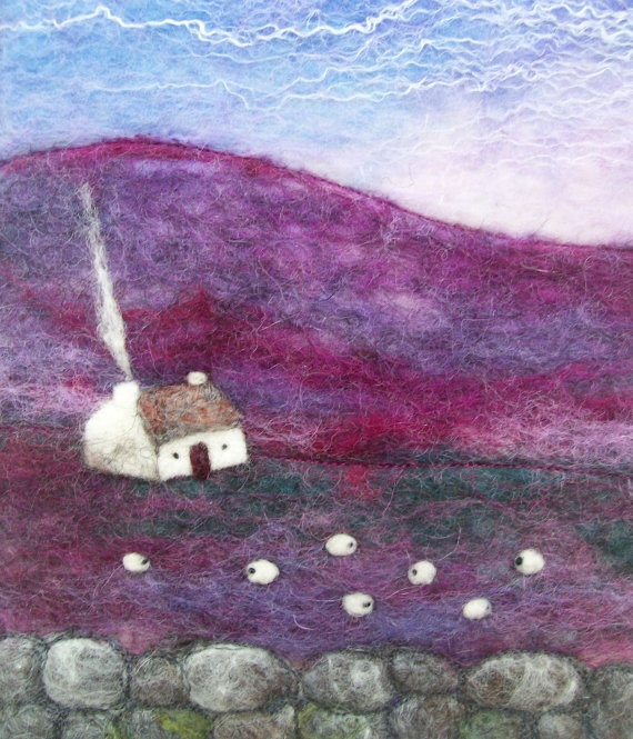 Purple Glens Felt Landscape with Cottage and by AileenClarkeCrafts, £40.00  So beautiful