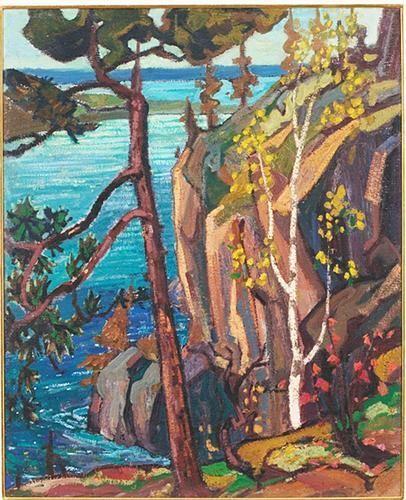 """Bon Echo Rock,"" Arthur Lismer, 1922, oil on canvas, 32¾ x 26½"", private…"
