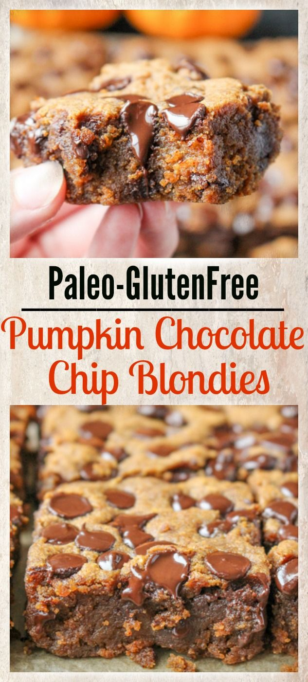These Paleo Pumpkin Chocolate Chip Blondies are super chewy, fudgy, and so easy to make! Gluten free, dairy free, and naturally sweetened.
