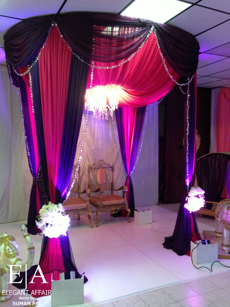 Pink & purple round gazebo, fabric gazebo, chandelier, canopy, mandap, south asian wedding, wedding decor