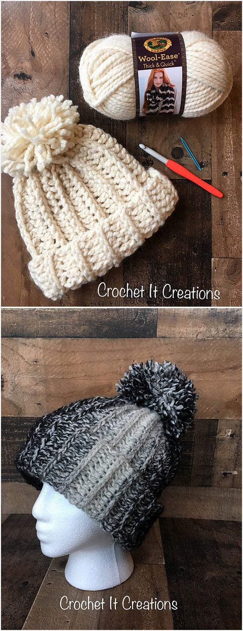 Chunky Snow Hat Free Crochet Pattern #crochet #hat #crafts #fashion