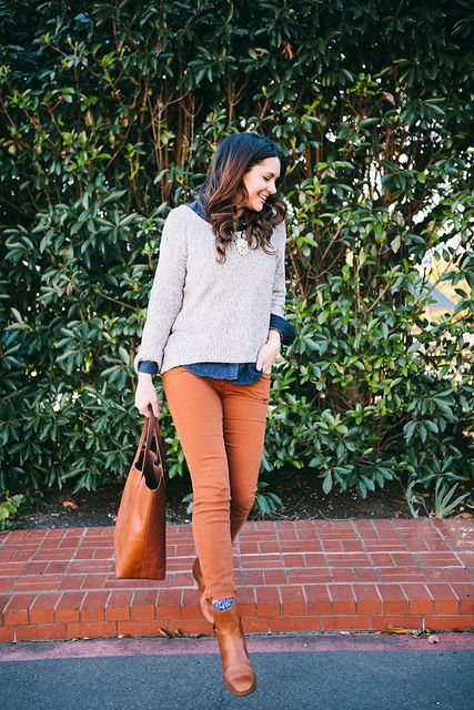 Kendi Skeen: layered sweater and chambray