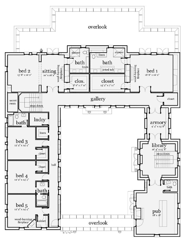 Scottish Castle.  This is the second floor. Almost 7000 square feet.  Fairly accurate floor plan.  Needs elevator.  At least others are doing what I want to do.  Plan W44071TD: Corner Lot, Luxury, European House Plans & Home Designs
