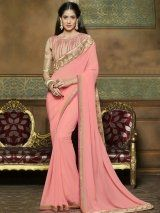 Pink Satin Chiffon Saree with Embroidery Work