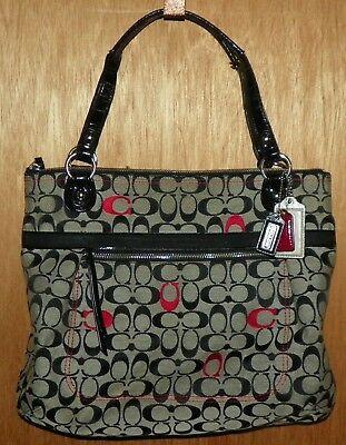 2846775d2b4f1 Coach-Signature-Purse-Handbag-Leather-Canvas-Black-Gray-Red-No-G1220-21184