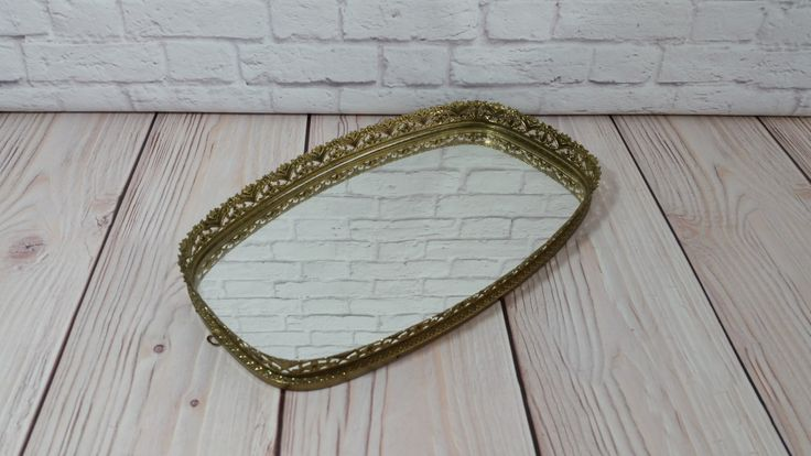Vintage Ornate Gold Toned Mirrored Dresser Vanity Tray Wall Mirror by maliasmark on Etsy
