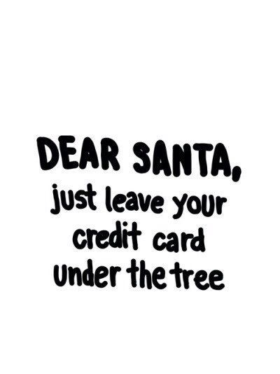 Dear Santa, just leave your credit card under the tree