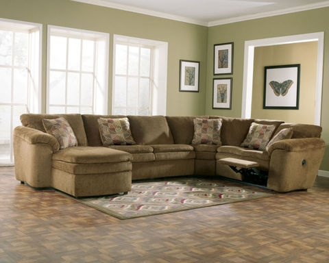 Westin Contemporary Mocha Fabric Recliner Sofa Couch Sectional Set Living Room