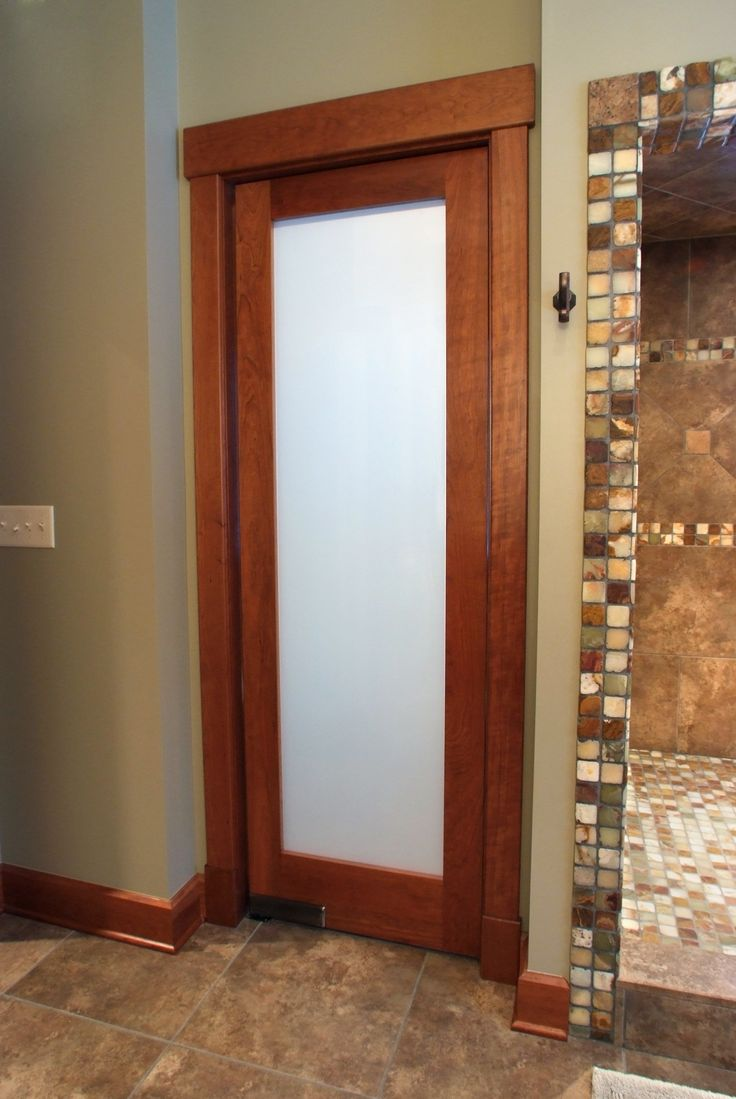 American cherry 1 lite frosted glass double acting bathroom door with contemporary cherry casing Glass bathroom doors interior