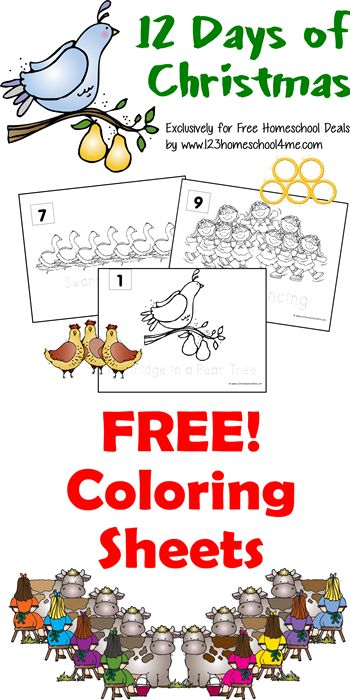 Free Coloring Sheets: 12 Days of Christmas {instant download!}