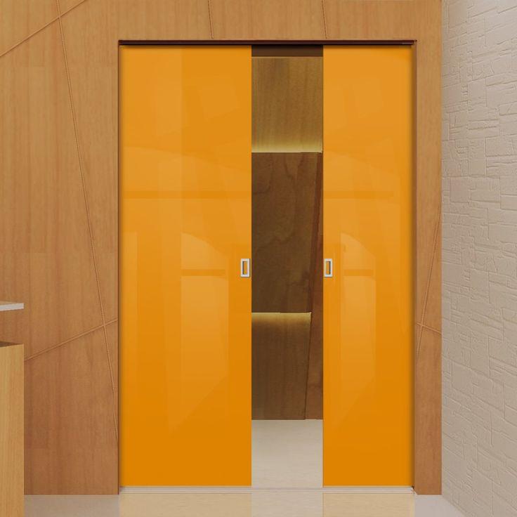 Eclisse 10mm Gloss Orange Colour Glass Syntesis Double Pocket Door - 2001.    #glassdoors  #colouredglassdoors  #internalglassdoors