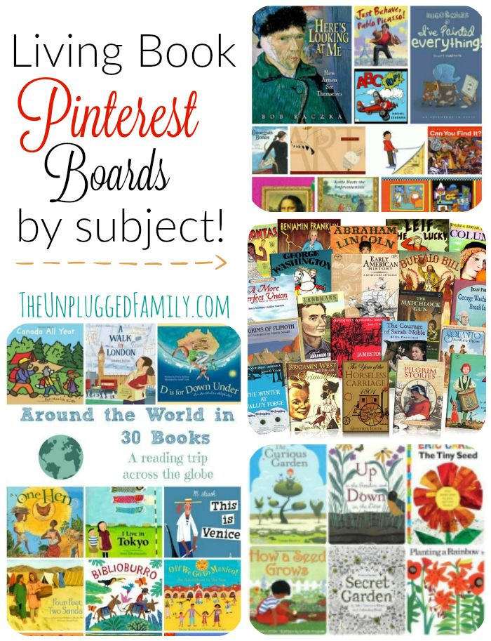 The Unplugged Family: Living Book Pinterest Boards by Subject - as requested! {Charlotte Mason Monday}