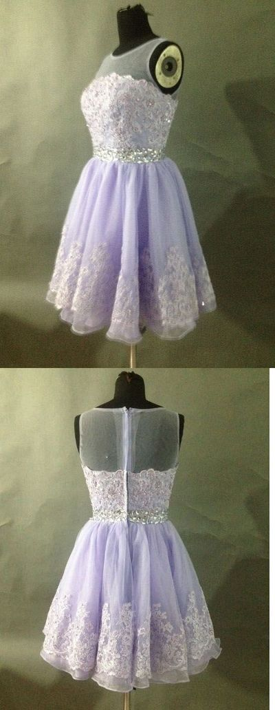 Lavender Homecoming Dress,Lace Homecoming Dresses,Short Prom Gown,Homecoming…