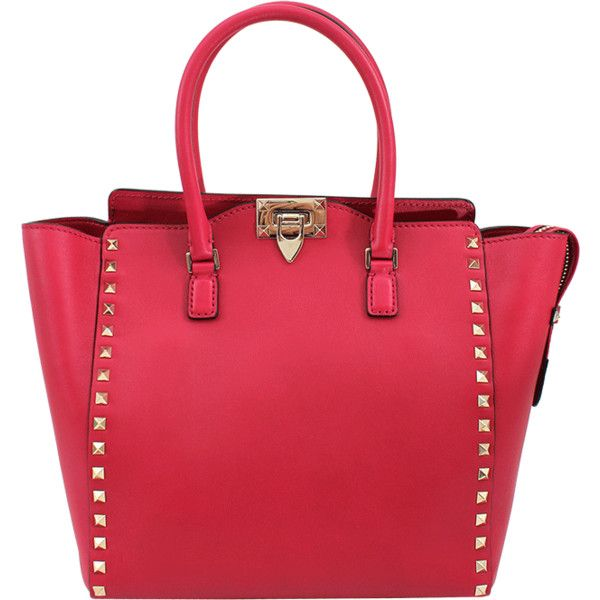 VALENTINO Rockstud Shopper Tote ($2,145) ❤ liked on Polyvore featuring bags, handbags, tote bags, purses, bolsas, accessories, pink, red leather purse, handbags totes and shopping tote