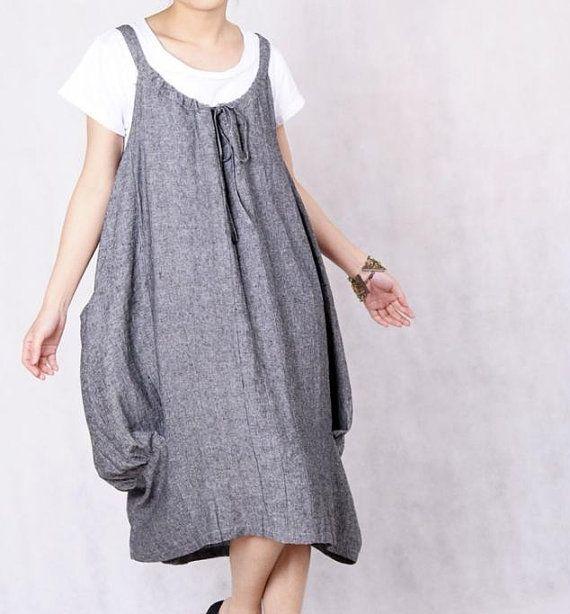 Salto del corazón vestido de Lino gris oscuro precioso por MaLieb