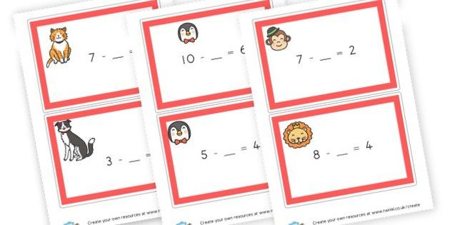 subtraction cards - display lettering - Subtraction Worksheets ...
