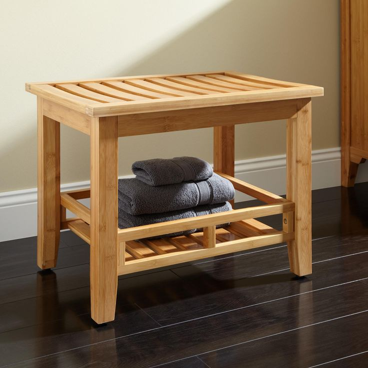 Pradit Bamboo Bathroom Stool