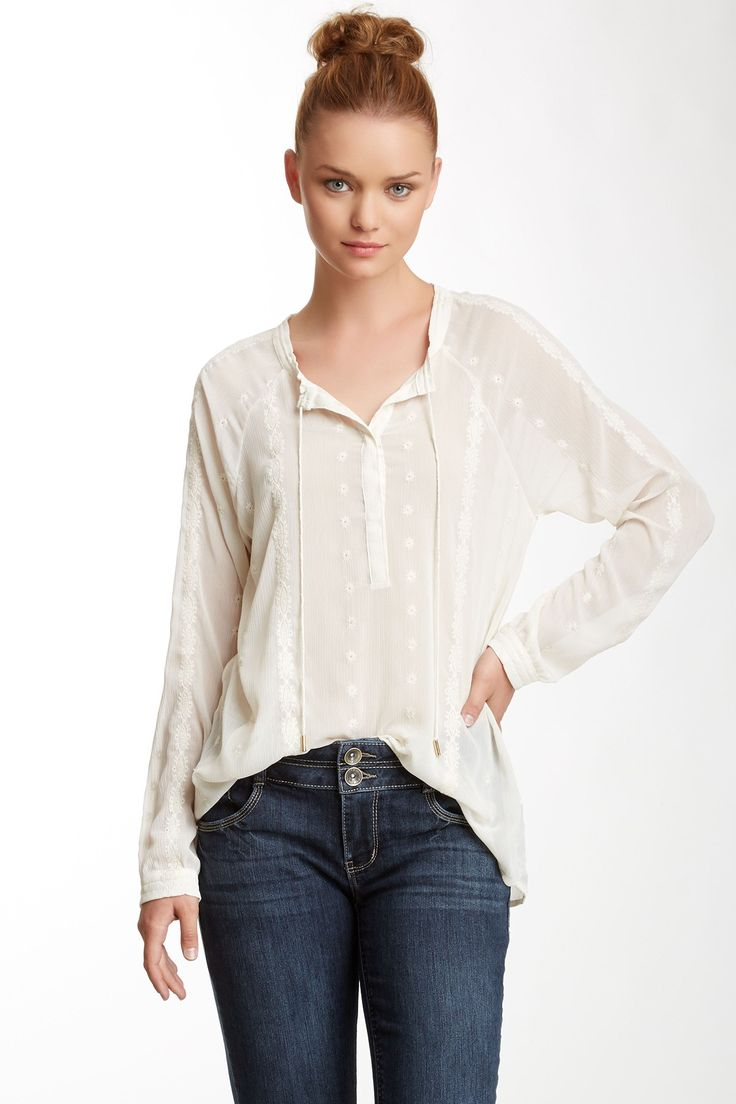 Embroidered Peasant Blouse by Democracy on @nordstrom_rack