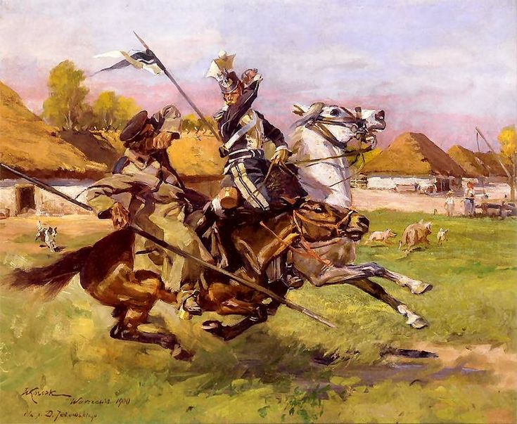 Wojciech Kossak - Ułan w walce z Kozakiem  (epizod z Powstania Listopadowego), 1900