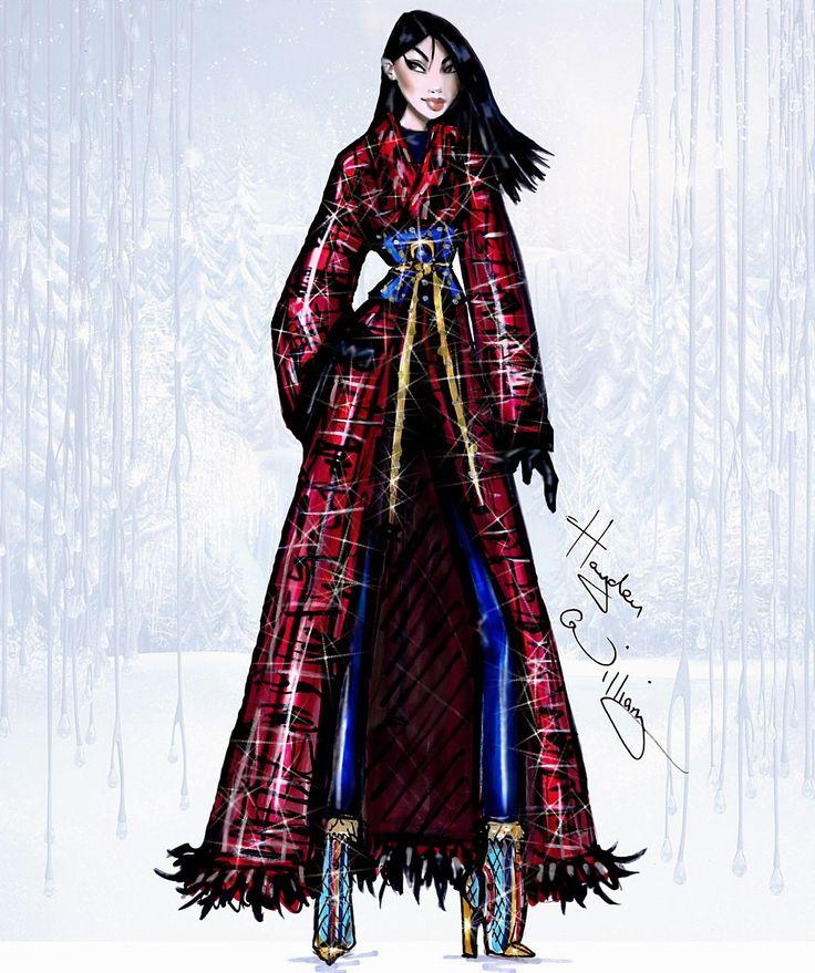 Hayden Williams Fashion Illustrations: Disney Divas 'Holiday' collection by Hayden Williams: Mulan