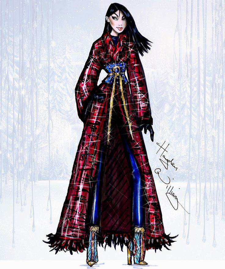 #Hayden Williams Fashion Illustrations #Disney Divas 'Holiday' collection by Hayden Williams: Mulan
