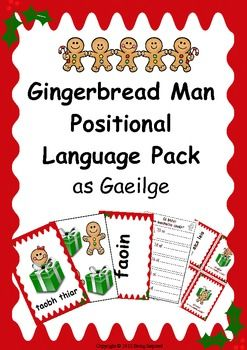 Irish - Positional Language flashcard and activity pack as Gaeilge (Christmas themed)