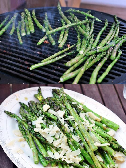 Grilled Asparagus and parm.... yum!     Grilled asparagus with shaved parmesan