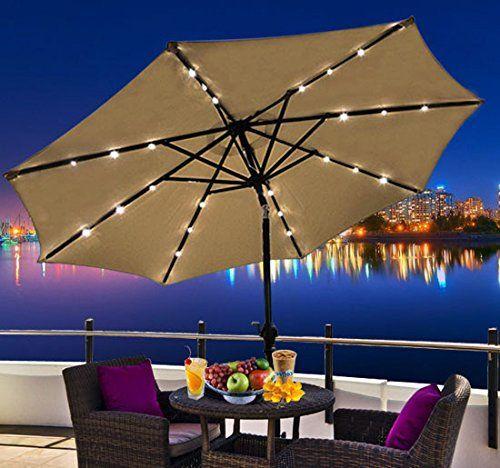 Solar umbrella with LED lights