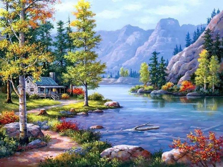 La imagen muestra un paisaje muy hermoso con una pequeña casa en el borde de un río