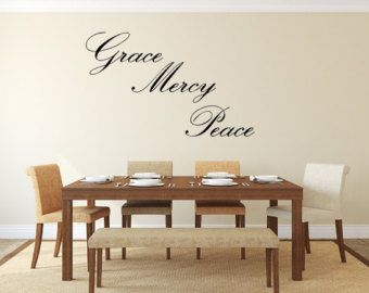 Check out Grace Mercy Peace Vinyl Wall Decal Grace Mercy Peace Decal Handmade Vinyl Wall Art Custom Orders Custom Vinyl Decals Custom Art Grace Sign on inspirationwallsigns